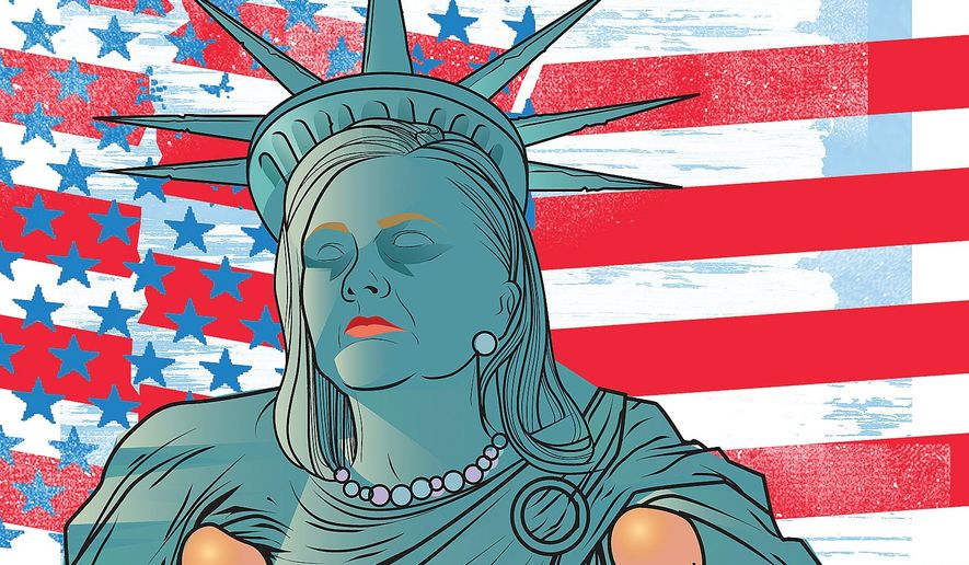 Illustration on Hillary Clinton's pessimistic view of America by Linas Garsys/The Washington Times