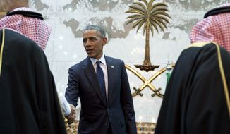 FILE- In this Jan. 27, 2015 file photo, President Barack Obama participates in a receiving line with the Saudi Arabian King, Salman bin Abdul Aziz, at Erga Palace in Riyadh, Saudi Arabia. Saudi Arabia and its allies are warning that legislation allowing the kingdom to be sued for the 9/11 attacks will have negative repercussions. The kingdom maintains an arsenal of tools to retaliate with, including curtailing official contacts, pulling billions of dollars from the U.S. economy, and enlisting its lockstep Gulf allies to scale back counterterrorism cooperation, investments and U.S. access to important regional air bases.(AP Photo/Carolyn Kaster, File)