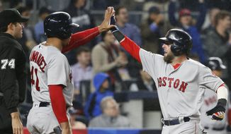 Boston Red Sox Marco Hernandez (41) greets Boston Red Sox Dustin Pedroia (15) after Pedroia scored on an eighth-inning, two-run double by Mookie Betts in a baseball game against the New York Yankees in New York, Wednesday, Sept. 28, 2016. (AP Photo/Kathy Willens)