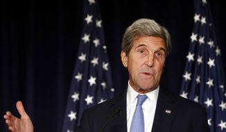 FILE - In this Sept. 22, 2016 file photo, Secretary of State John Kerry speaks in New York. Kerry is threatening to cut off all contacts with Moscow over Syria, unless Russian and Syrian government attacks on Aleppo end. The State Department says Kerry issued the ultimatum in a Wednesday, Sept. 28, 2016,  telephone call to Russian Foreign Minister Sergey Lavrov.(AP Photo/Jason DeCrow, File) **FILE**