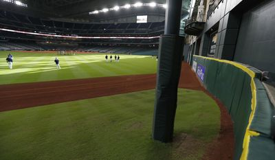 This Thursday, Sept. 22, 2016 photo, showsTal's Hill in centerfield, at Minute Maid Park, in Houston.  When this season ends, the Astros will raze the hill, bring the fence in to 409 feet and build out new amenities. (Karen Warren/Houston Chronicle via AP)