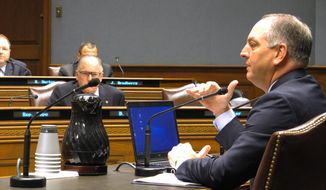 Gov. John Bel Edwards speaks to the Restore Louisiana Task Force, a flood recovery planning group he created, during its first meeting on Wednesday, Sept. 28, 2016, in Baton Rouge, La. (AP Photo/Melinda Deslatte)