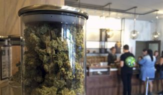 In this April 20, 2016, file photo, customers buy products at the Harvest Medical Marijuana Dispensary in San Francisco. (AP Photo/Haven Daley, File)