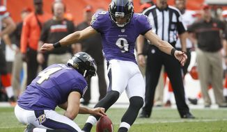 FILE - In this Sept. 18, 2016, file photo, Baltimore Ravens' Justin Tucker (9) kicks a field goal asSam Koch (4) hold during the second half of an NFL football game against the Cleveland Browns in Cleveland. After scoring a big contract during the offseason, Tucker hasn't missed a kick and has accounted for more than half the Ravens' points. (AP Photo/Ron Schwane, File)