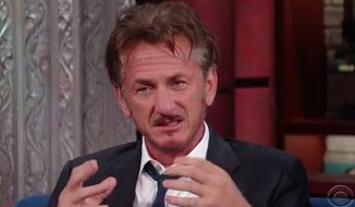 "Sean Penn made a rare late-night appearance on ""The Late Show With Stephen Colbert"" Tuesday, saying Americans can ""stick it out"" under a Hillary Clinton presidency or ""masturbate our way into hell"" with Donald Trump. (YouTube/@The Late Show with Stephen Colbert)"