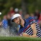 United States' Dustin Johnson hits from a bunker on the 12th hole during a practice round for the Ryder Cup golf tournament Thursday, Sept. 29, 2016, at Hazeltine National Golf Club in Chaska, Minn. (AP Photo/David J. Phillip)