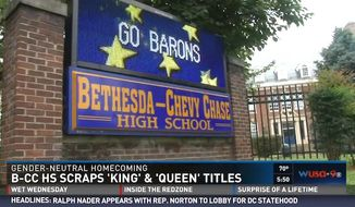 """Bethesda-Chase High School's Student Government Association voted to create a genderless homecoming court. Students will now nominate """"Homecoming Royalty"""" instead of a """"King"""" and """"Queen."""" (WUSA9 screenshot)"""