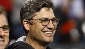 Chicago White Sox manager Robin Ventura smiles during the national anthem before a baseball game against the Tampa Bay Rays, Thursday, Sept. 29, 2016, in Chicago. (AP Photo/Nam Y. Huh) **FILE**