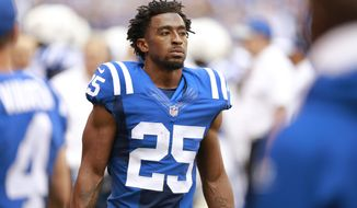 FILE - In this Sept. 11, 2016, file photo, Indianapolis Colts defensive back Patrick Robinson watches from the sideline during the first half of an NFL football game against the Detroit Lions in Indianapolis. The Colts (1-2) were so thin in the secondary that they almost ran out of players to use a nickel package in Week 2 at Denver.  (AP Photo/R Brent Smith, File)