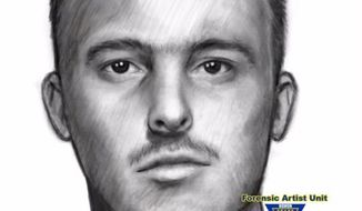 A composite sketch provided Thursday, Sept. 29, 2016, by the Union County Prosecutor's Office shows a man suspected of trying to lure girls in Union County, N.J. Authorities say at least three incidents took place last week in Roselle. The girls, who range in age from 12 to 16, all reported the man asked if they wanted a ride or physically grabbed them. Three girls in Kenilworth and Linden reported similar incidents last week. Police want to question the man.  (AP Photo/Union County Prosecutor's Office)