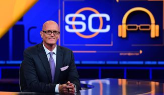"In this Sept. 7, 2015 photo released by ESPN, Scott Van Pelt appears on the set of ""SportsCenter"" in Bristol, Conn. To a certain segment of the population, Van Pelt is a more popular late-night television star than Jimmy Fallon, Jimmy Kimmel and Stephen Colbert.  While he doesn't perform monologue jokes, the midnight show he hosts incorporates elements from the late-night comedy shows, including a greater emphasis on interviews and bite-sized pieces of material that can live online independent of the television show.(Joe Faraoni/ESPN Images via AP)"