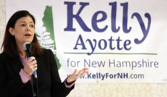 Incumbent candidate for U.S. Senate Republican Kelly Ayotte speaks during a debate with Democratic challenger Gov. Maggie Hassan Friday, Sept. 30, 2016, in Conway, N.H. (AP Photo/Jim Cole)