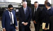 Former U.S. President Bill Clinton, center, arrives for the funeral of former Israeli President Shimon Peres in Jerusalem, Friday, Sept. 30, 2016. U.S. President Barack Obama, Palestinian President Mahmoud Abbas, French President Francois Hollande, German President Joachim Gauck and scores of other world leaders are attending the funeral. (Ronen Zvulun/Pool photo via AP)