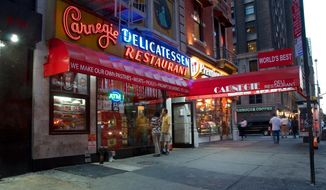 Carnegie Deli photo via the eatery's official Facebook page. Accessed Sept. 30, 2016. [https://www.facebook.com/carnegiedelinyc/photos/a.560715333966742.1073741826.111504365554510/766392900065650/?type=1&theater]