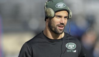 FILE - In this Dec. 6, 2015, file photo, New York Jets wide receiver Eric Decker warms up before an NFL football game against the New York Giants in East Rutherford. Decker has a partially torn rotator cuff that will sideline him for the team's game against the Seattle Seahawks on Sunday, coach Todd Bowles announced Friday, Sept. 30, 2016. (AP Photo/Bill Kostroun, File)