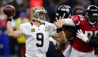 FILE - In this Sept. 26, 2016, file photo, New Orleans Saints quarterback Drew Brees (9) passes in the first half of an NFL football game against the Atlanta Falcons in New Orleans. Brees will play quarterback at Qualcomm Stadium on Sunday, Oct. 2, 2016, for the first time since Dec. 31, 2005, when he walked off the field holding his right arm at a 90-degree angle because of a shoulder injury. (AP Photo/Butch Dill, File)