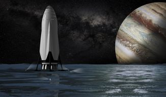 "This artist's rendering provided by SpaceX on Tuesday, Sept 27, 2016 shows the company's proposed Interplanetary Transport System passenger module on the surface a moon orbiting the planet Jupiter. For the past decade, Elon Musk has borrowed from science fiction and fantasy when naming his rockets, engines, capsules and other space doodads. For his first passenger ship, he is leaning toward the name ""Heart of Gold,"" the starship in the novel ""The Hitchhiker's Guide to the Galaxy."" (SpaceX via AP)"