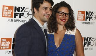 "Lin-Manuel Miranda, left, and Vanessa Nadal, right, attend the ""Manchester By The Sea"" premiere during the 54th New York Film Festival at Alice Tully Hall on Saturday, Oct. 1, 2016, in New York. (Photo by Andy Kropa/Invision/AP)"