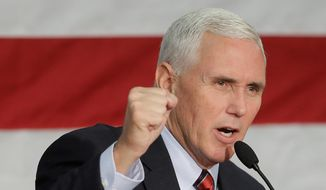 lead in Republican vice presidential candidate, Indiana Gov. Mike Pence speaks at a campaign rally, Friday, Sept. 30, 2016, in Fort Wayne, Ind. (AP Photo/Darron Cummings) (credit)