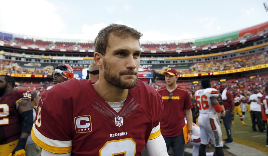 Washington Redskins quarterback Kirk Cousins (8) comes off the field after an NFL football game against the Cleveland Browns, Sunday, Oct. 2, 2016, in Landover, Md. The Redskins won 31-20. (AP Photo/Carolyn Kaster)