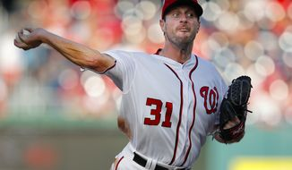 Washington Nationals pitcher Max Scherzer, throws against the Miami Marlins at Nationals Park, Sunday, Oct. 2, 2016 in Washington. Scherzer earned his 20th victory of the season and drove in a career-high four runs to help the Nationals win 10-7. (AP Photo/Pablo Martinez Monsivais)