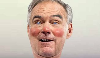 Illustration on Tim Kaine as Obama's surrogate in a potential Clinton administration by Alexander Hunter/The Washington Times