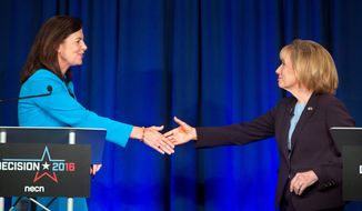 During Sen. Kelly Ayotte's (left) debate with Democratic challenger Gov. Maggie Hassan, Ms. Hassan said Ms. Ayotte's promise to stand up to Donald Trump meant little if the Republican votes for him. (Associated Press)