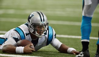 Carolina Panthers quarterback Cam Newton has a concussion after a helmet-to-helmet hit on Sunday. (Associated Press)