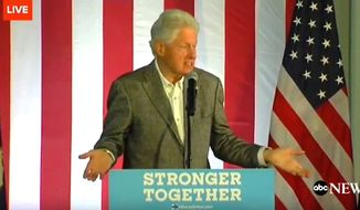 "Former President Bill Clinton told a Michigan audience on Monday, Oct. 3, 2016, that the Affordable Care Act is a ""crazy system."" (ABC News screenshot)"