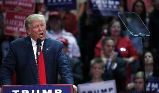 Republican presidential candidate Donald Trump speaks at a campaign rally, Monday, Oct. 3, 2016, in Loveland, Colo. (AP Photo/ Brennan Linsley)