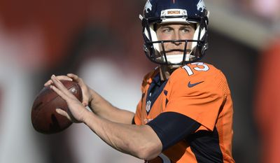 Denver Broncos quarterback Trevor Siemian (13) looks to pass during an NFL football game against the Tampa Bay Buccaneers Sunday, Oct. 2, 2016, in Tampa, Fla. (AP Photo/Jason Behnken)