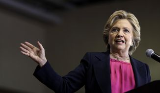 In this Sept. 27, 2016, photo, Democratic presidential candidate Hillary Clinton speaks during a campaign stop at Wake Technical Community College in Raleigh, N.C. Republican Donald Trump can do little to stop Clinton from winning the presidency if she carries North Carolina, a state where their close race reflects the national liabilities of both of them.  (AP Photo/Matt Rourke)