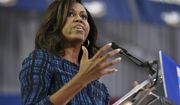 In this Sept. 28, 2016 file photo, first lady Michelle Obama speaks at LaSalle University in Philadelphia as she campaigns for presidential candidate Hillary Clinton. (AP Photo/Mel Evans, File)