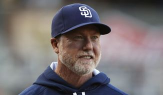 FILE - In this March 31, 2016, file photo, San Diego Padres bench coach Mark McGwire smiles before the start of an exhibition baseball game against El Paso Chihuahuas in El Paso, Texas. McGwire is getting another swing at the Hall of Fame. The former slugger who admitted using steroids joins Bud Selig, George Steinbrenner and seven others on the Today's Game Era ballot to be considered for election to Cooperstown in December.(AP Photo/Andres Leighton, File)