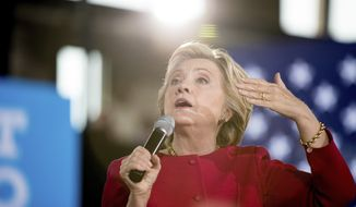 Democratic presidential candidate Hillary Clinton speaks at a town hall at the Haverford Community Recreation and Environmental Center in Haverford, Pa., Tuesday, Oct. 4, 2016. (AP Photo/Andrew Harnik)