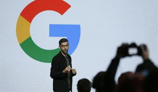 "Google CEO Sundar Pichai speaks during a product event, Tuesday, Oct. 4, 2016, in San Francisco. Google launched an aggressive challenge to Apple and Samsung, introducing its own new line of smartphones called Pixel, which are designed to showcase a digital helper the company calls ""Google Assistant."" The new phones represent a big, new push by Google to sell its own consumer devices, instead of largely just supplying software for other manufacturers. (AP Photo/Eric Risberg)"