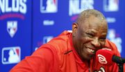 Washington Nationals manager Dusty Baker smiles during a news conference after baseball batting practice at Nationals Park, Tuesday, Oct. 4, 2016, in Washington. The Nationals host the Los Angeles Dodgers in Game 1 of the National League Division Series on Friday. (AP Photo/Alex Brandon)