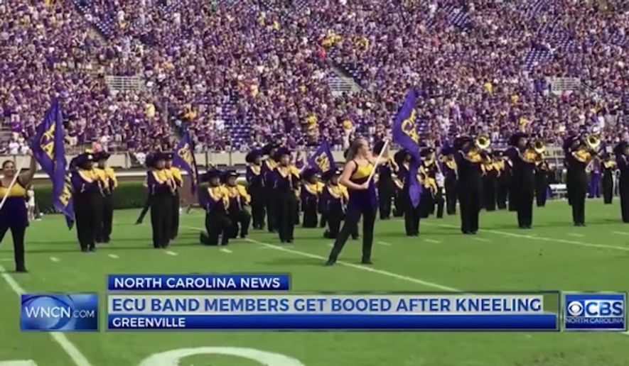 East Carolina University said members of its marching band will not be allowed to kneel during the national anthem moving forward, after a protest during Saturday's game against the University of Central Florida was met with boos. (WNCN)