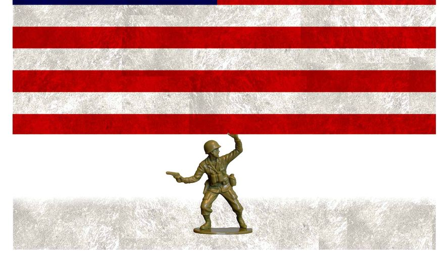 Illustration on the decreasing U.S. armed forces by Alexander Hunter/The Washington Times