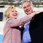 Democratic presidential candidate Hillary Clinton and running mate Sen. Tim Kaine at a recent rally in Virginia. (Associated press) ** FILE **
