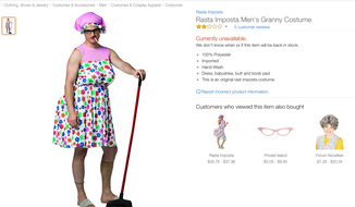 "A men's ""granny"" costume which was deemed offensive and removed from Amazon, Walmart and Target websites."
