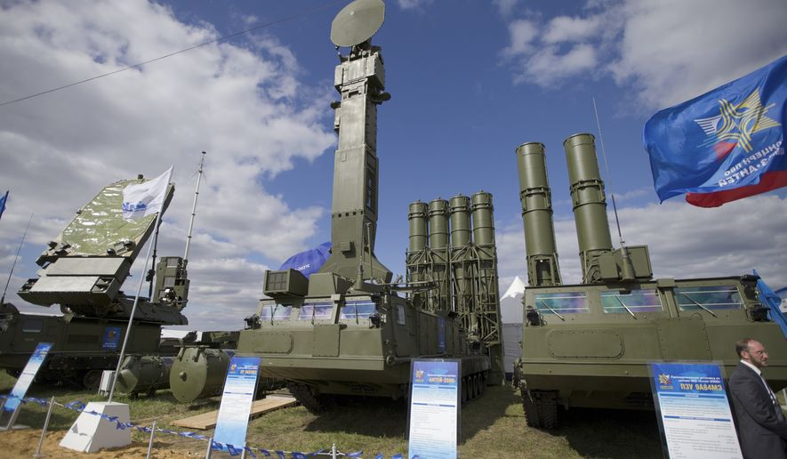 \Russian air defense system missile system Antey 2500, or S-300 VM, is on display at the opening of the MAKS Air Show in Zhukovsky outside Moscow, Russia. The Russian military said Tuesday it had deployed the S-300 air defense missile systems to Syria to protect a Russian navy facility in the Syrian port of Tartus and Russian navy ships in the area. (AP Photo/Ivan Sekretarev, file)