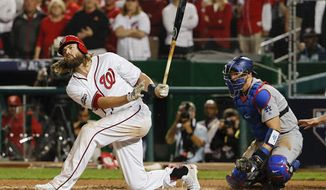 Jayson Werth struck out three times Friday night against the Los Angeles Dodgers. / AP photo