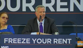 """New York City Mayor Bill de Blasio purposely ignored questions from a New York Post reporter on Thursday, slamming the newspaper as a """"right-wing rag"""" that serves as a """"negative presence"""" in the city. (NYC Mayor's Office)"""