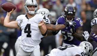 FILE - In this Sunday, Oct. 2, 2016, file photo, Oakland Raiders quarterback Derek Carr (4) throws to a receiver in the first half of an NFL football game against the Baltimore Ravens in Baltimore. The Raiders play the San Diego Chargers on Sunday. (AP Photo/Nick Wass, File)
