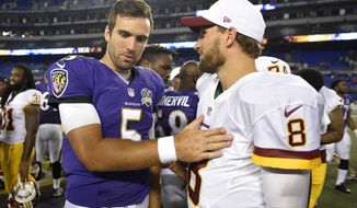 FILE - In this Aug. 29, 2015, file photo, Baltimore Ravens quarterback Joe Flacco, left, chats with Washington Redskins quarterback Kirk Cousins after a preseason NFL football game in Baltimore. If the cornerstone of a great rivalry is proximity between the teams, the Redskins and Ravens would be nasty adversaries. Both teams play their home games in Maryland at stadiums located just 32 miles apart. (AP Photo/File)