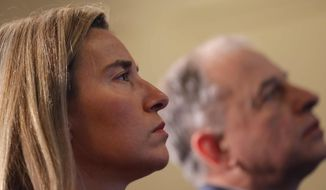 EU foreign policy chief Federica Mogherini attends an Aspen forum event in Bucharest, Romania, Friday Oct. 7, 2016. (AP Photo/Vadim Ghirda)