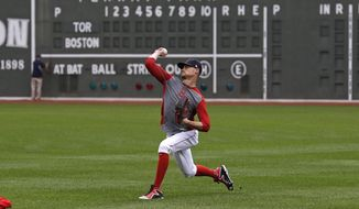 Boston Red Sox starting pitcher Clay Buchholz throws during a team baseball practice at Fenway Park in Boston, Saturday, Oct. 8, 2016.  Buchholz will face Cleveland Indians starter Josh Tomlin in Game 3 of the American League Division Series. The Indians hold a 2-0 game lead in the series. (AP Photo/Charles Krupa)