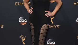 "FILE - In this Sunday, Sept. 18, 2016, file photo, Nancy O'Dell arrives at the 68th Primetime Emmy Awards at the Microsoft Theater in Los Angeles. O'Dell of ""Entertainment Tonight"" is calling Donald Trump's 2005 taped lewd remarks about her sad and disappointing. In a statement released by the show Saturday, Oct. 8, 2016, O'Dell said no one should be the subject of such crass comments and that everyone deserves respect, whether or not cameras are rolling. (Photo by Jordan Strauss/Invision/AP, File)"