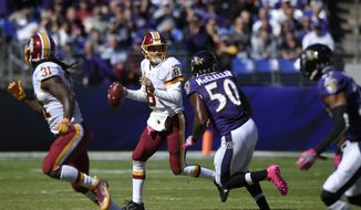 Washington Redskins' Kirk Cousins looks to pass during the first half of an NFL football game against the Baltimore Ravens, Sunday, Oct. 9, 2016, in Baltimore. (AP Photo/Nick Wass)